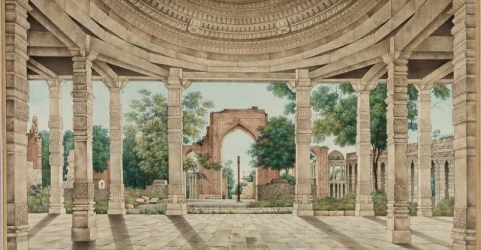 the_mosque_of_delhi_and_the_iron_pillar_-_mid_19th_century_watercolor_of_paper-268103726_std
